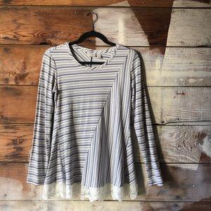 Logo Lori Goldstein XS Long Sleeve Striped Sweater